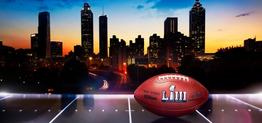 Super Bowl 53 football in front of Atlanta skyline