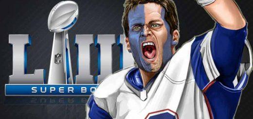 Tom Brady in front of Super Bowl logo