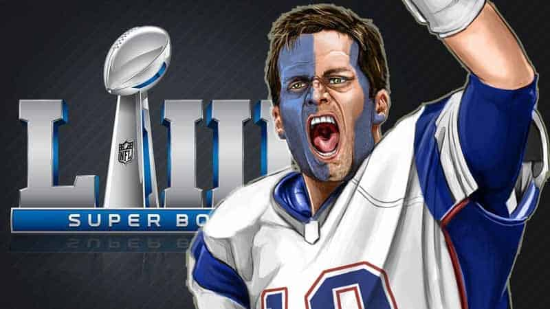 Tom Brady in front of Super Bowl logo