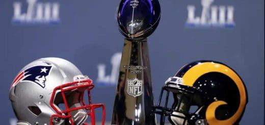 Patriots helmet Rams helmet Super Bowl 53 trophy