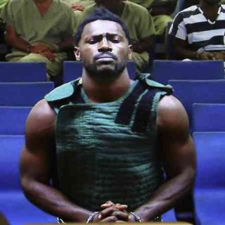 Antonio Brown at a court hearing with a bullet proof vest on