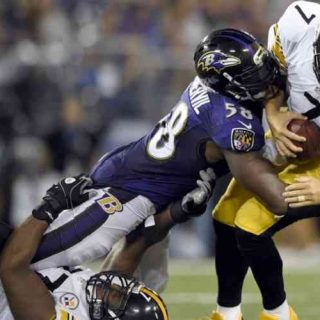 Steelers QB getting sacked by the Ravens