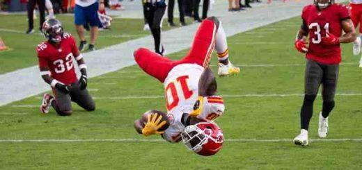 Tyreen Hill Kansas City Wide Receiver doing a backflip